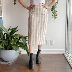 2/25 🍉 vintage linen striped midi skirt